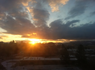 Sunrise from my room in Bozeman