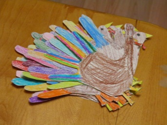 Making turkey hands for Thanksgiving, MT