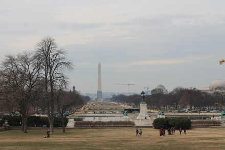 Looking onto the Washington DC monument over the reflecting pool