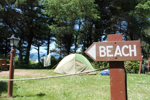 Camp set up at Seal Rock, OR