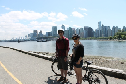 Riding around Stanley park, Vancouver, BC 2014