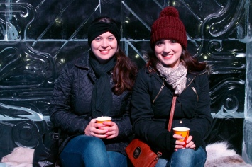 Enjoying one of many Gluhwein's at the Bruges Ice Sculpture Show